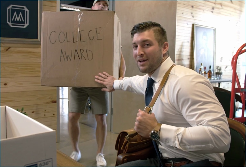 Interviewing for an internship, Tim Tebow shows off his impressive resume.
