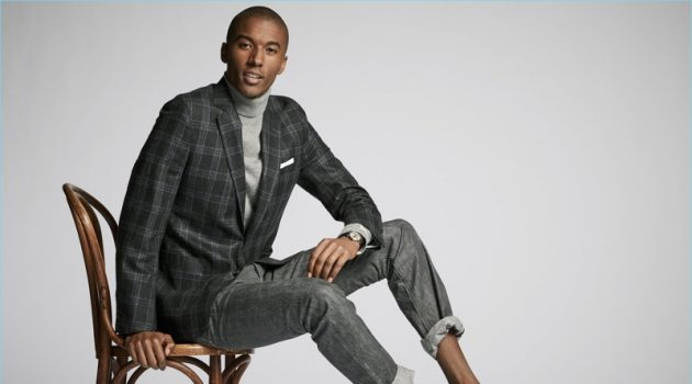 Dressed for dinner, Claudio Monteiro wears a Todd Snyder Black Label check sport coat. The top model also sports a Todd Snyder turtleneck and denim jeans. Alden dress shoes complete Claudio's look.