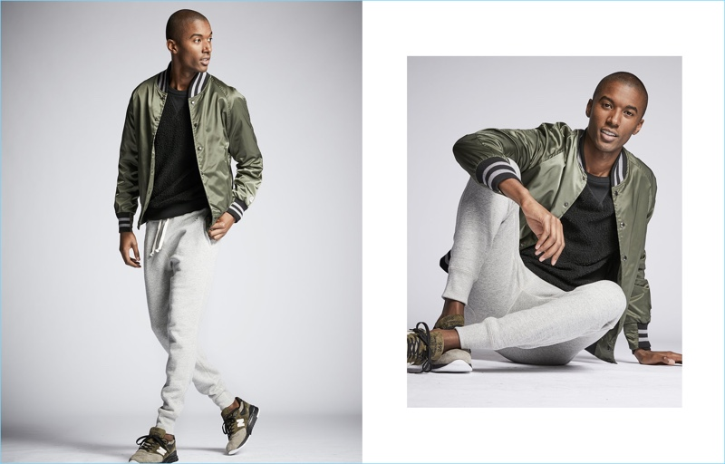 Heading into the weekend, Claudio Monteiro sports a Todd Snyder + Champion bomber jacket. Sweatpants and a sweatshirt from the collaboration work well with New Balance sneakers.