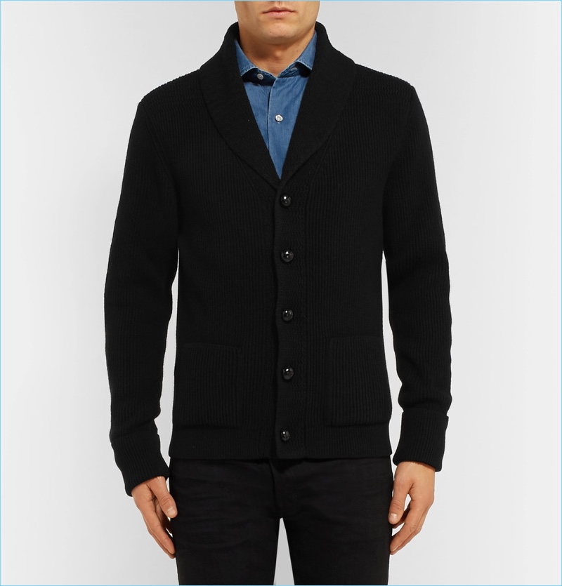 Tom Ford Icon Shawl-Collar Ribbed Cashmere Cardigan