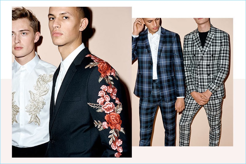 Pack a stylish punch by updating your suits with embroidered details and plaid.