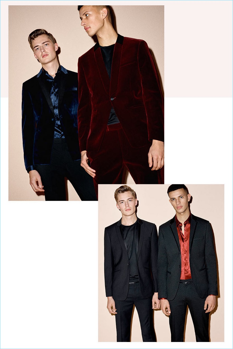 British brand Topman stands by a holiday classic with velvet suits.