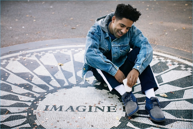 "Visiting Central Park, KYLE takes note of the John Lennon ""Imagine"" landmark. He wears UGG's Neumel color block shoes."