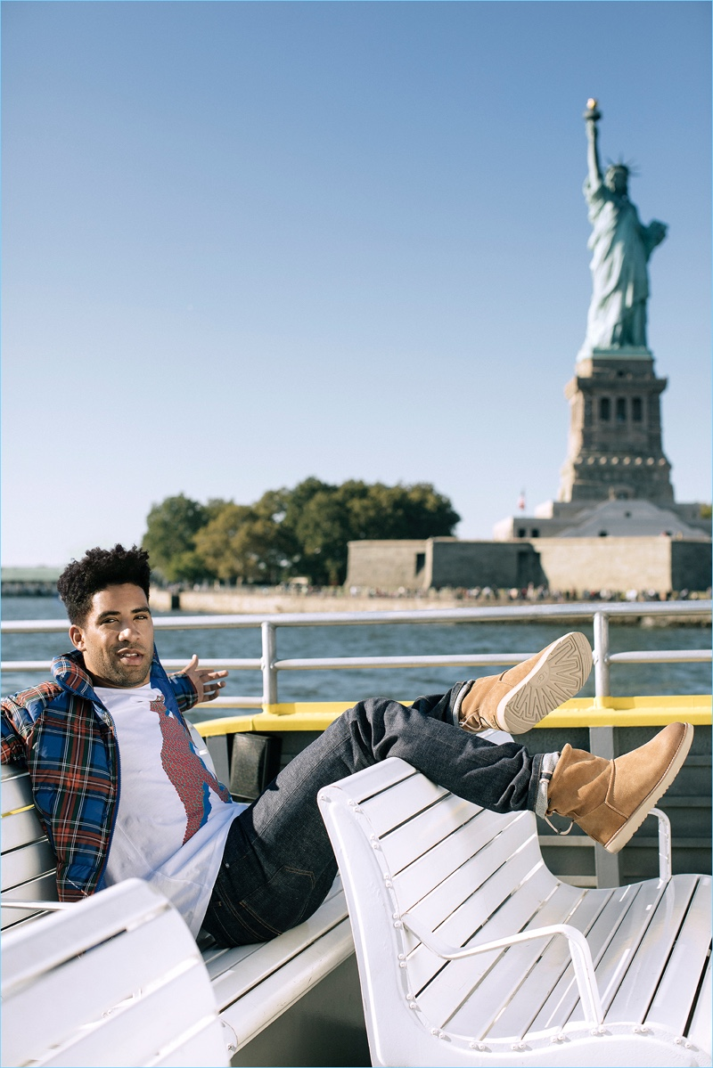 Arriving in New York City, KYLE rocks UGG classic toggle boots.