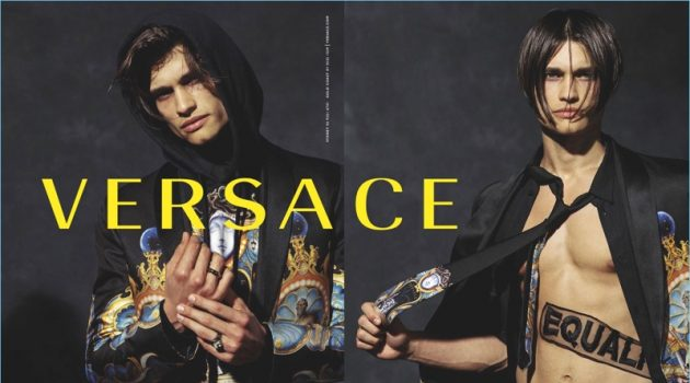 Michael Gioia fronts Versace's fall-winter 2017 campaign.