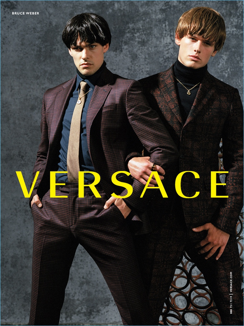 Filip Wolfe and Tristian Thevenot suit up for Versace's fall-winter 2017 campaign.
