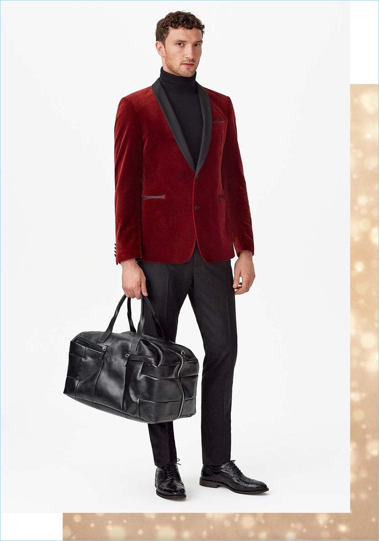 Zalando enlists Jacob Coupe to wear holiday essentials like a velvet blazer.