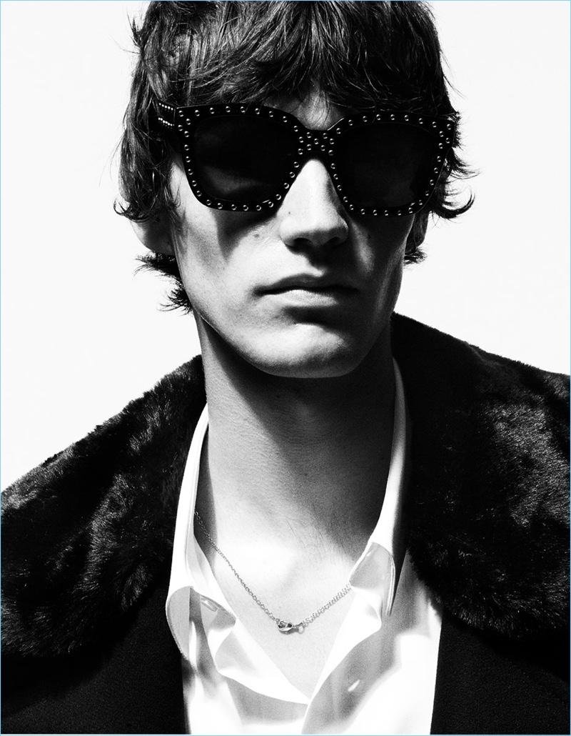 Elias de Poot wears cool studded sunglasses from Zara Man.