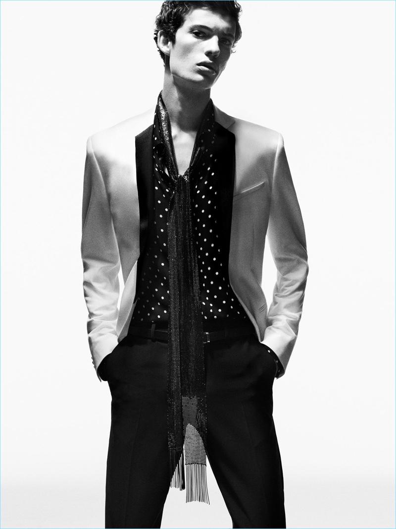 Elias de Poot goes formal in a rock-inspired evening look from Zara Man.