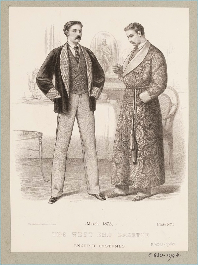 An illustration of 1800s smoking jackets.