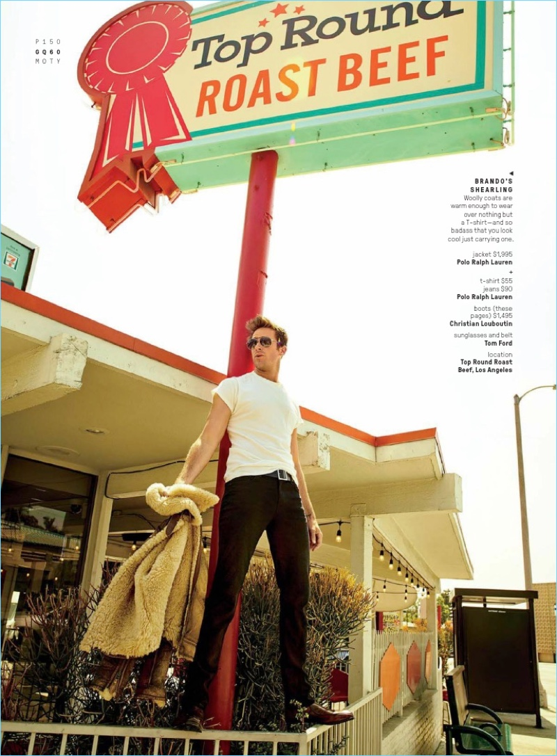 American actor Armie Hammer wears a t-shirt, jeans, and jacket by POLO Ralph Lauren. He also sports Christian Louboutin boots and Tom Ford sunglasses.