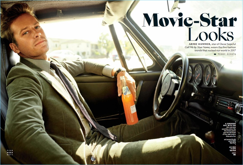 Actor Armie Hammer dons a shirt, tie and corduroy suit by Tom Ford with an IWC watch.