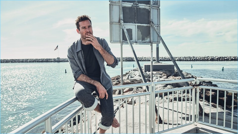 American actor Armie Hammer wears a Joseph overshirt with a NN07 t-shirt, and Beams sweatpants.