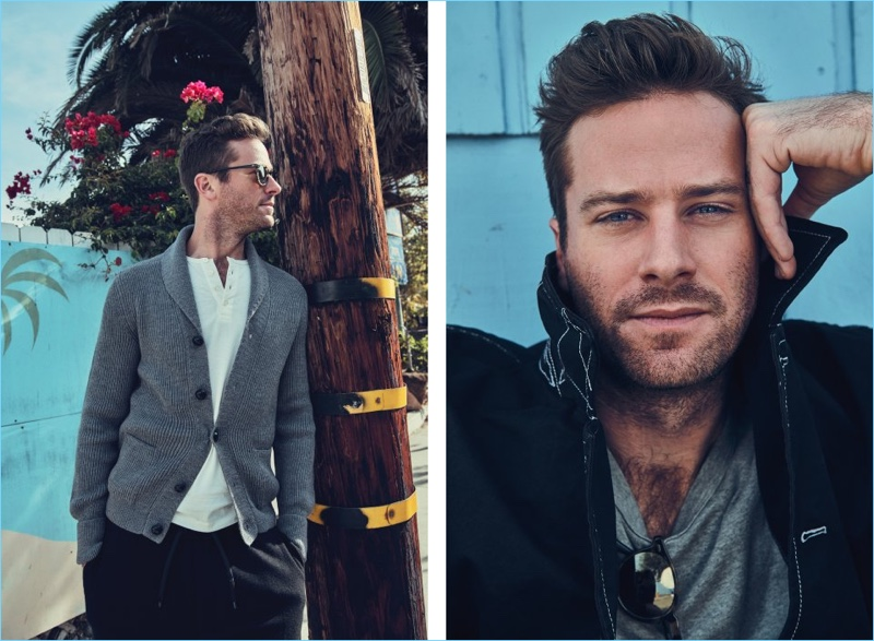 Left: Armie Hammer wears a Tom Ford cardigan and t-shirt. The American actor also sports AMI trousers and Oliver Peoples sunglasses. Right: Hammer rocks a Comme des Garçons SHIRT jacket and Schiesser t-shirt.