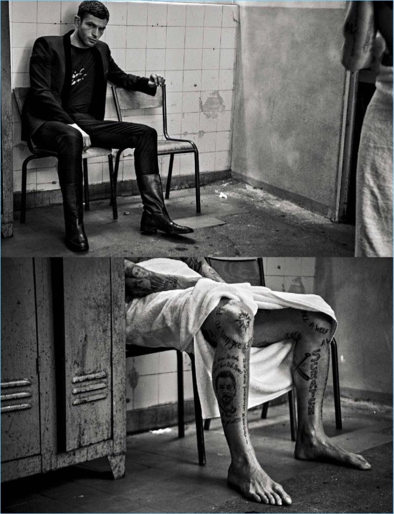 Actor Arnaud Valois wears Saint Laurent for L'Uomo Vogue.