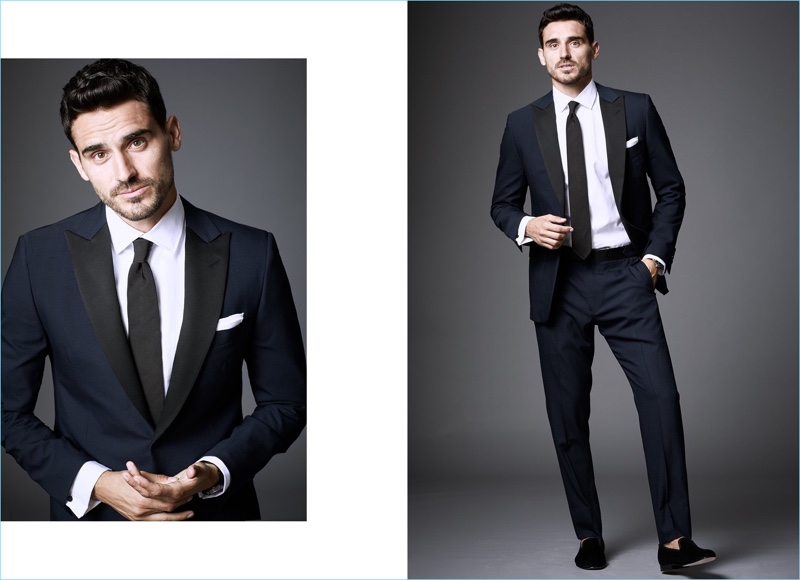 New Year's Celebration: Model Arthur Kulkov wears an Emanuele Maffeis + Todd Snyder wrinkle free dress shirt with a Todd Snyder White Label tie. The Russian model also sports a Drake's pocket square and a navy Todd Snyder tuxedo.