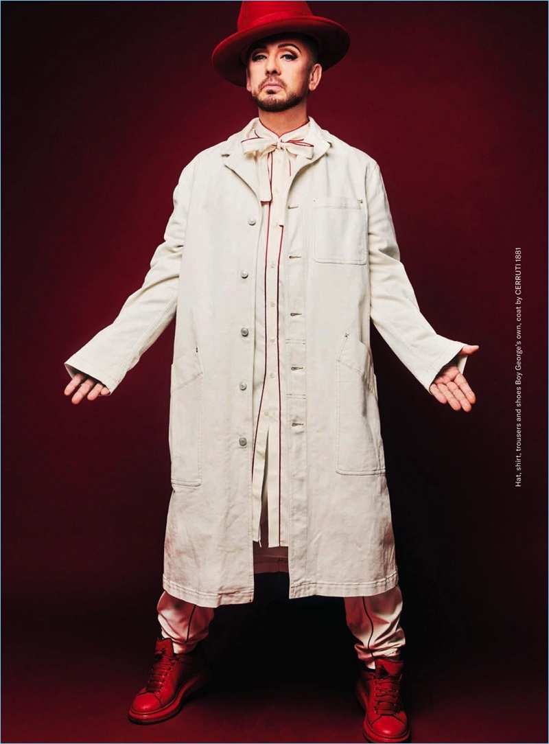 Front and center, Boy George wears a coat by Cerruti 1881 with his own clothes and accessories.