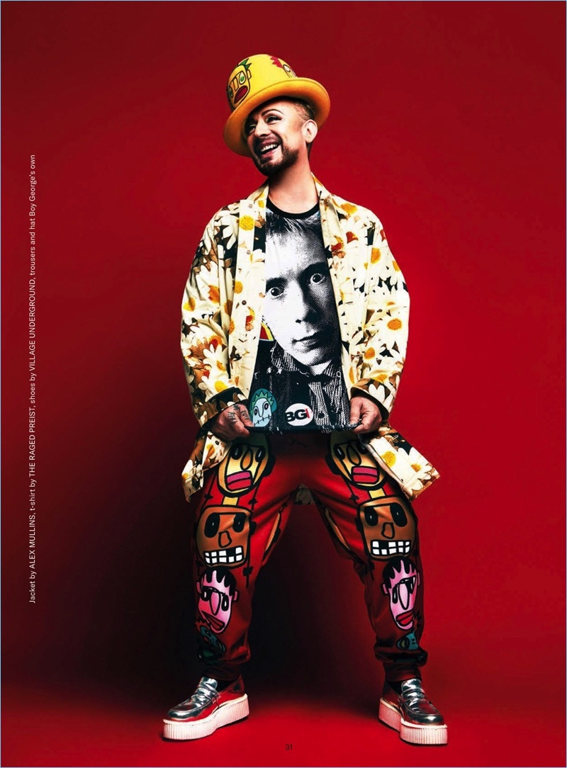 Exploding with personality, Boy George wears an Alex Mullins jacket with a t-shirt by The Raged Preist. He also wears Village Underground shoes with his own trousers and hat.