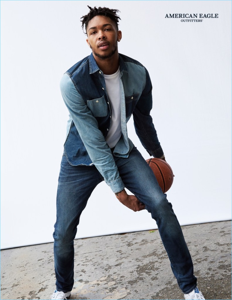 Basketball player Brandon Ingram stars in American Eagle's fall-winter 2017 denim campaign.