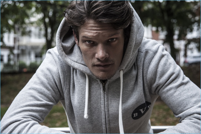 Danny Beauchamp rocks British Vintage Boxing's heritage sweatshirt.