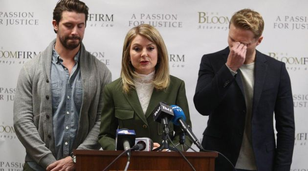 Mark Ricketson, attorney Lisa Bloom, and Jason Boyce pictured at a press conference.