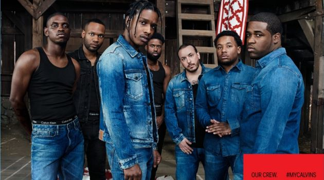 A$AP Nast, A$AP J. Scott, A$AP Rocky, A$AP Twelvyy, A$AP Lou, A$AP Ant, and A$AP Ferg star in a campaign for Calvin Klein.