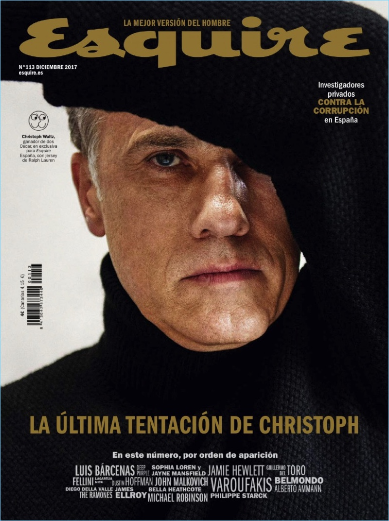 Christoph Waltz covers the December 2017 issue of Esquire España.