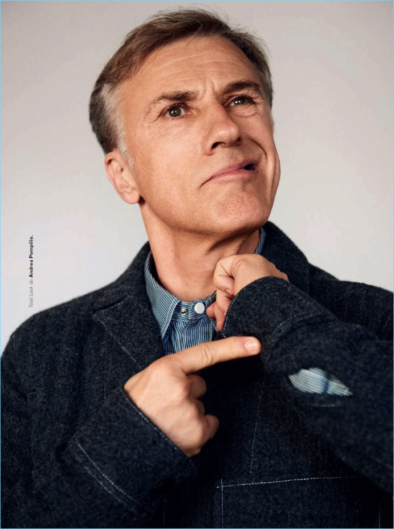 Starring in an Esquire España photo shoot, Christoph Waltz wears a look by Andrea Pompilio.