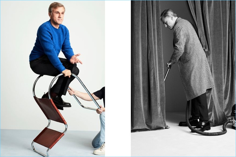 Left: Christoph Waltz wears a Rag & Bone sweater with Prada trousers and AMI shoes. Right: Waltz sports a Jil Sander trousers and AMI shoes.