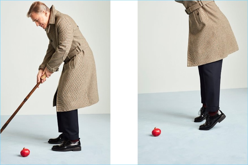 Connecting with Mr Porter, Christoph Waltz wears a Prada coat, Acne Studios shirt, Dries Van Noten trousers, and AMI shoes.
