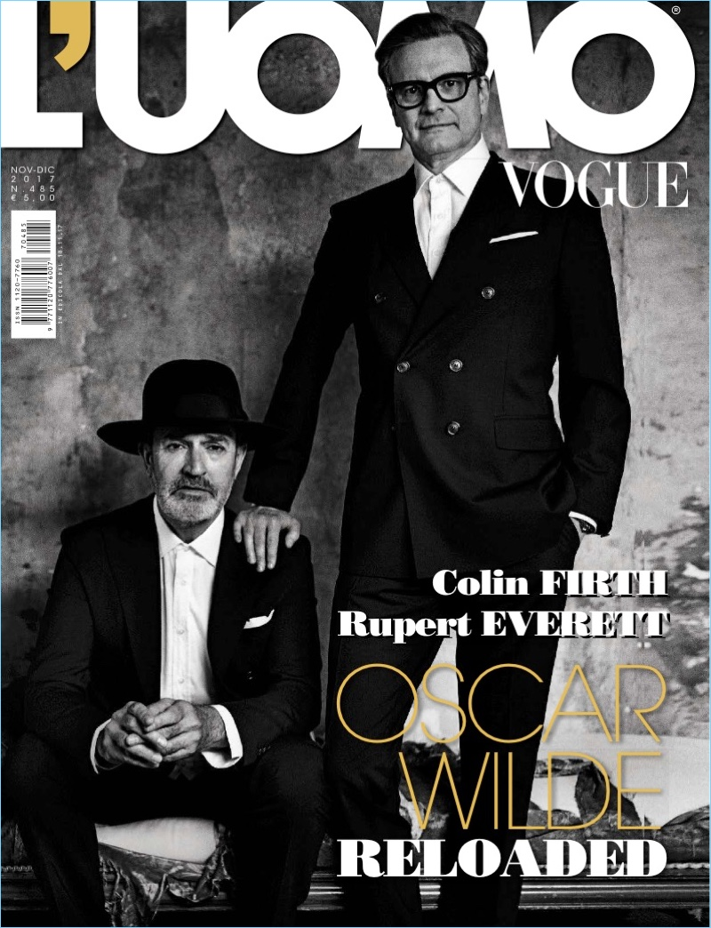 Rupert Everett and Colin Firth cover the November/December 2017 issue of L'Uomo Vogue.