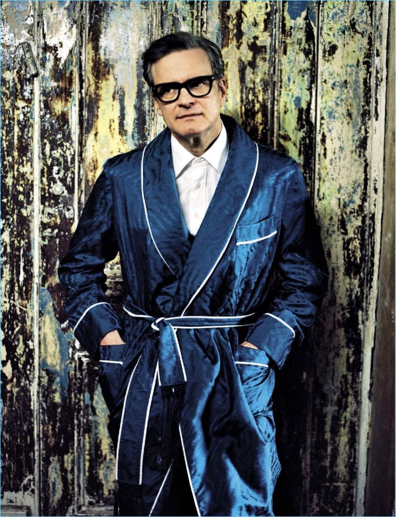 Actor Colin Firth lounges in a silk robe by Tom Ford.