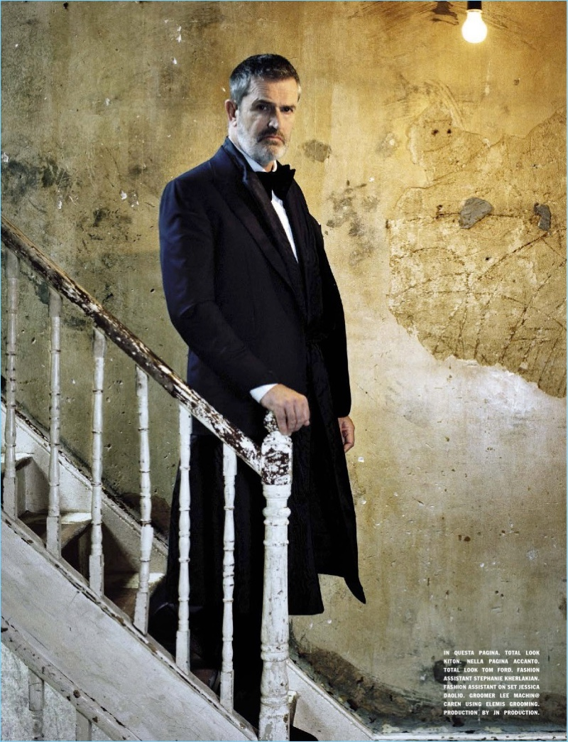 Connecting with L'Uomo Vogue, Rupert Everett wears Kiton.