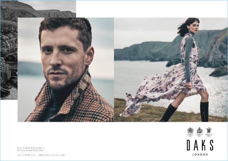English model George Barnett joins Emma Appleton for Daks' fall-winter 2017 campaign.