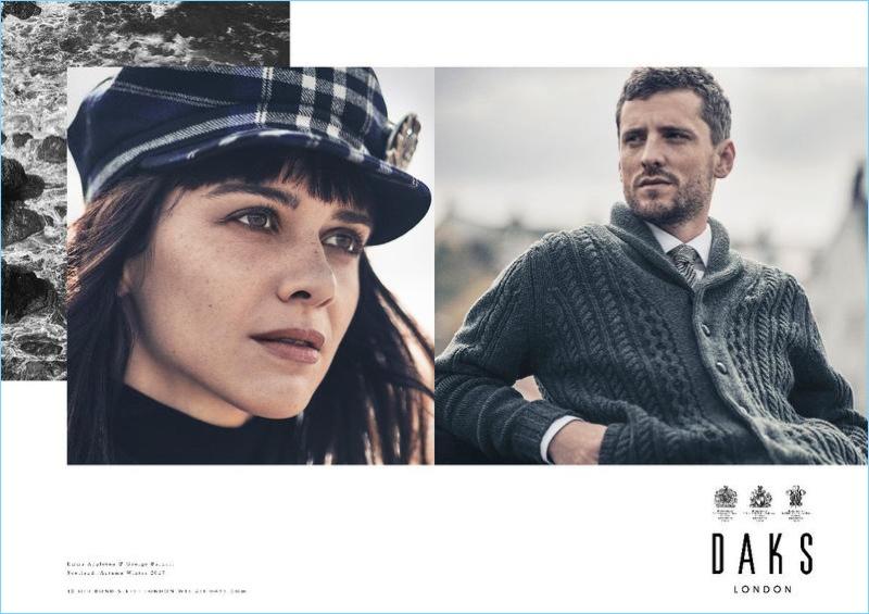 Emma Appleton and George Barnett star in Daks' fall-winter 2017 campaign.
