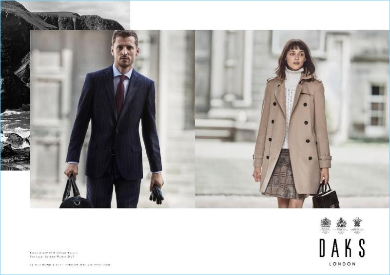 Suiting up, George Barnett joins Emma Appleton for Daks' fall-winter 2017 campaign.