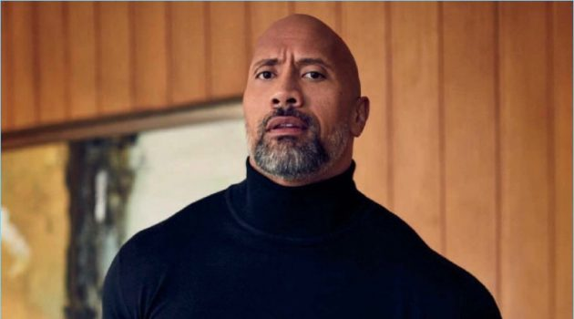 A chic vision, Dwayne 'The Rock' Johnson wears a Brioni turtleneck with Ralph Lauren trousers, and a Montblanc watch.