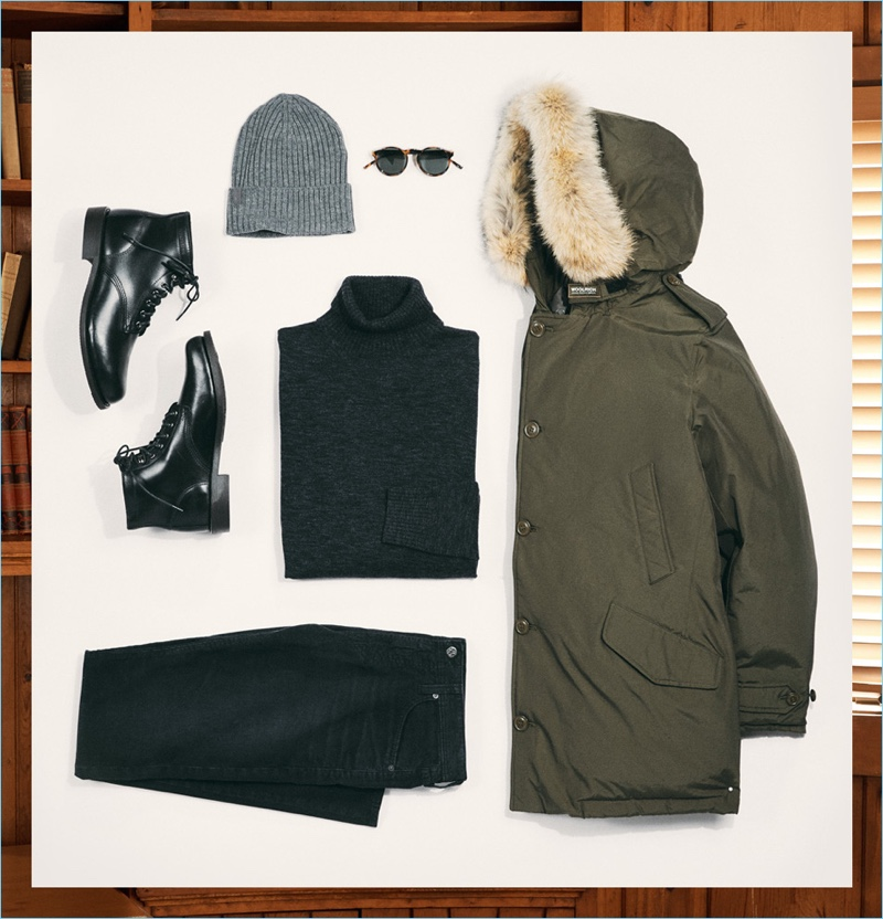 The Family Get Together: Le Specs Cubanos sunglasses, Arc'Teryx beanie, Wolverine 1883 boots, AG denim jeans, Club Monaco turtleneck, and Woolrich John Rich & Bros. parka.