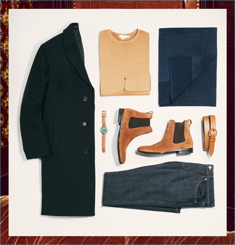 The Cultural Affair: J Brand jeans, Sunspel sweater, Theory topcoat, Shinola watch, Salvatore Ferragamo suede Chelsea boots, scarf, and leather belt.