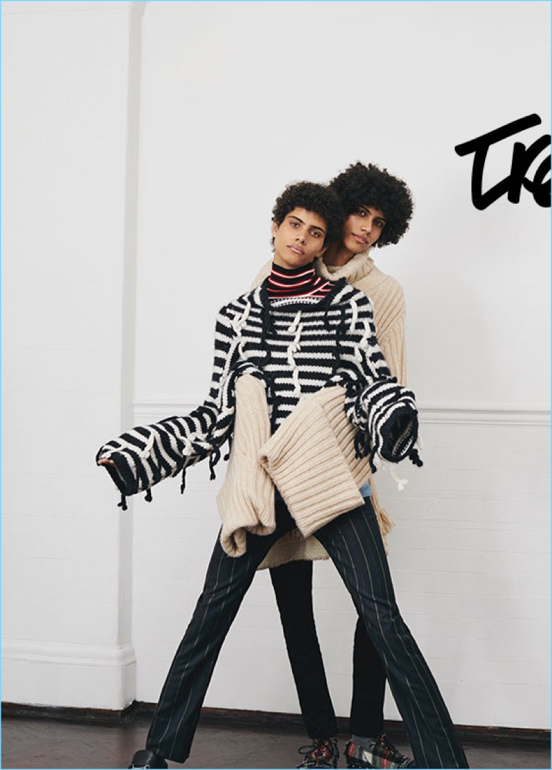 Trent and Piers Lafond wears sweaters by J.W. Anderson and Marni.