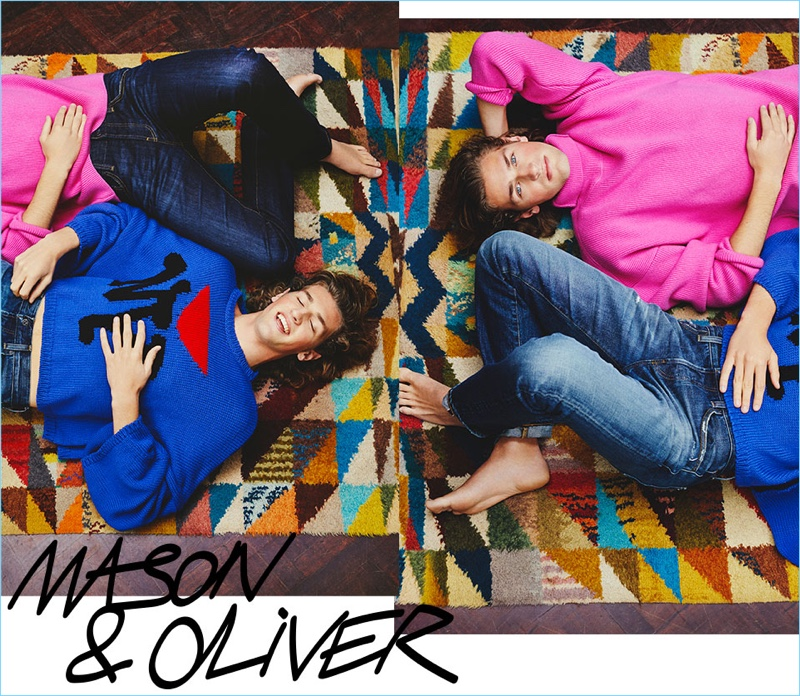 Mason and Oliver Wright wear knitwear from AMI and Raf Simons.