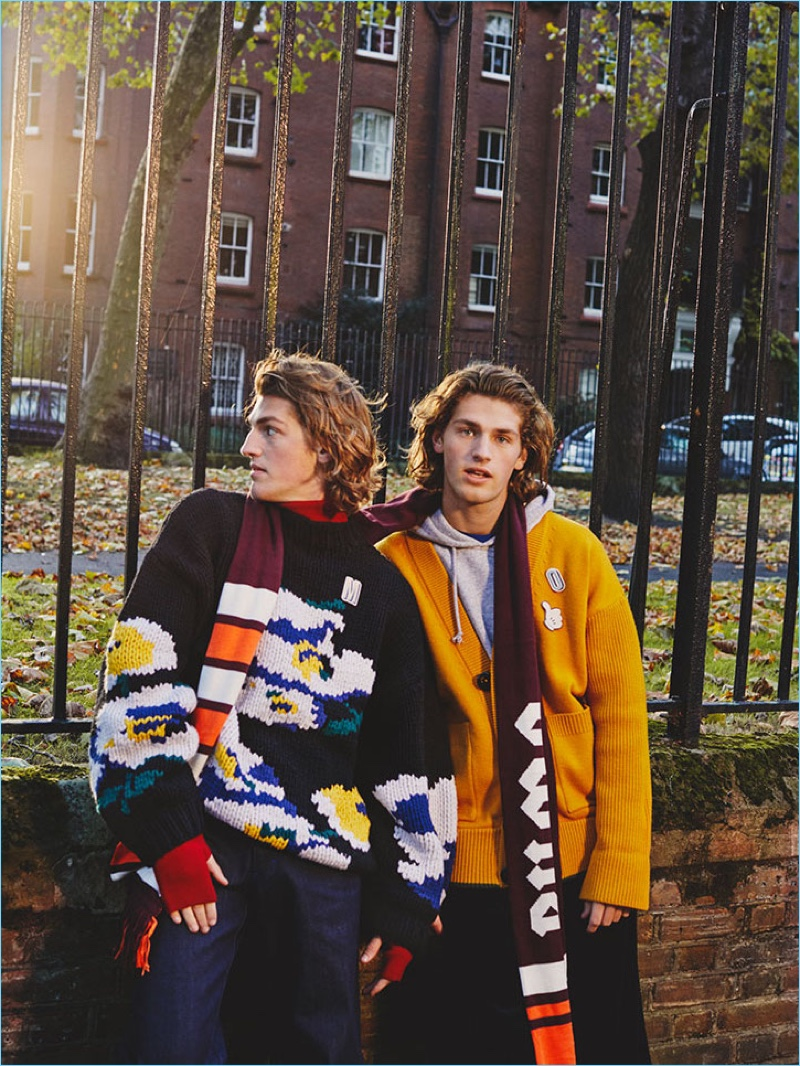 Connecting with photographer Alice Neale, Mason and Oliver Wright sport sweaters by Études and Dsquared2.
