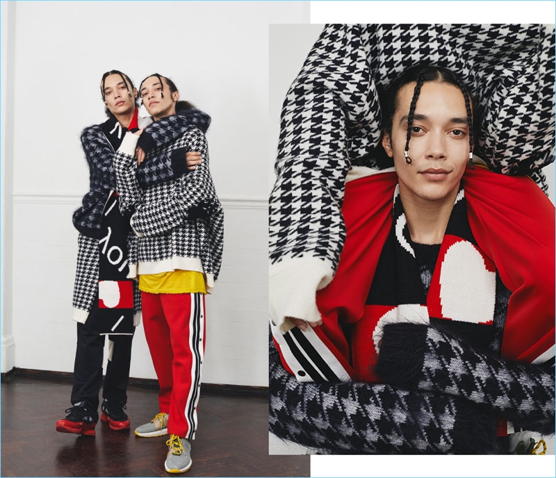 Embracing houndstooth, Clint and Lee sport sweaters from Haider Ackermann.