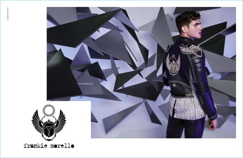Sporting a leather jacket, Jhonattan Burjack appears in Frankie Morello's fall-winter 2017 campaign.