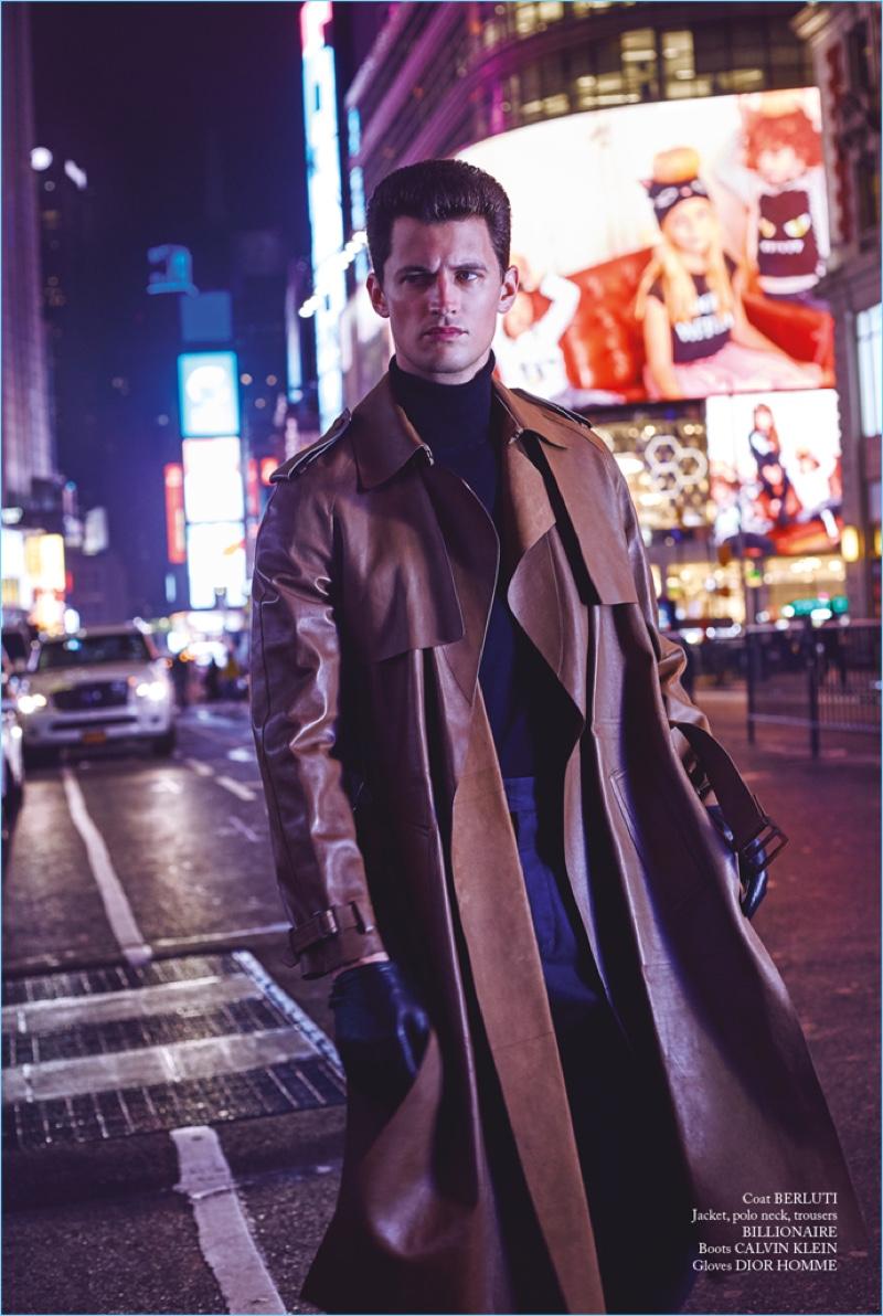 Garrett Neff Models Leather Looks for Glass Cover Shoot
