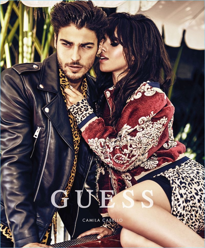 Camila Cabello cozies up to Alessandro Dellisola for Guess' holiday 2017 campaign.