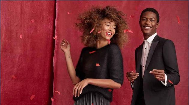 Models Anaïs Mali and Hamid Onifade celebrate the holidays with Simons.