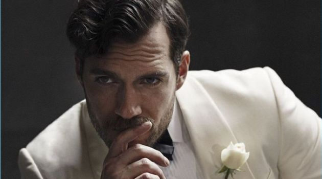 English actor Henry Cavill dons a white tuxedo jacket for The Rake.
