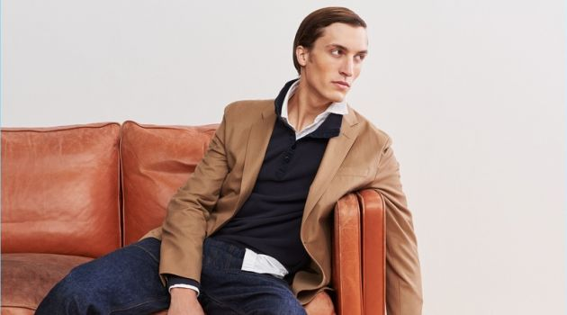 1. Relaxed Tailoring: J.Crew makes a case for its wool unstructured blazer. Model Tim Dibble layers it with a polo and oxford shirt. He also wears Wallace & Barnes jeans and Adidas Stan Smith sneakers.