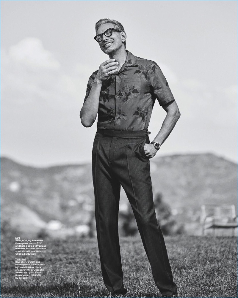A svelte vision, Jeff Goldblum dons a look from Louis Vuitton with Josephs Shoes footwear.